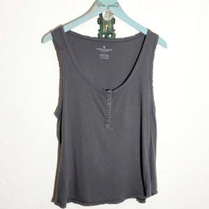 American Eagle Destroyed Henley Tank Top